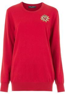 Dolce & Gabbana Blusa De Tricô Com Bordado - Vermelho