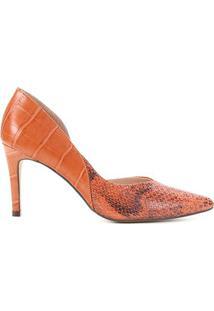 Scarpin Couro Shoestock Cobra Croco Bico Fino - Feminino