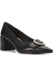 Scarpin Couro Shoestock Salto Médio Fivela Snake - Feminino-Preto