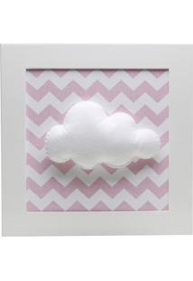 Quadro Decorativo Nuvem Chevron Bebê Infantil Menina Potinho De Mel Rosa