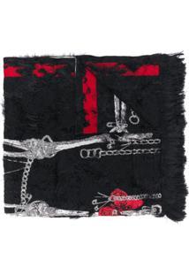 Alexander Mcqueen Echarpe Com Estampa De Esqueleto E Textura - Preto