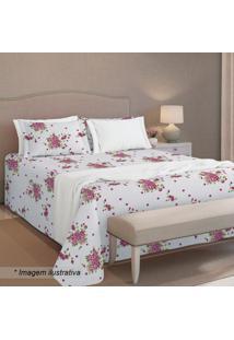 Conjunto De Colcha Queen Size- Branco & Rosa- 3Pçs