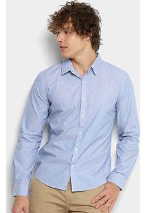 Camisa Ellus Thin Striped Manga Longa Masculina - Masculino-Azul