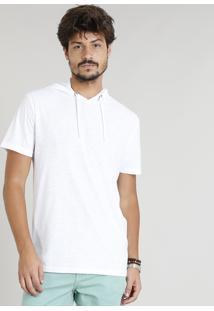 Camiseta Masculina Flamê Com Capuz Manga Curta Branca