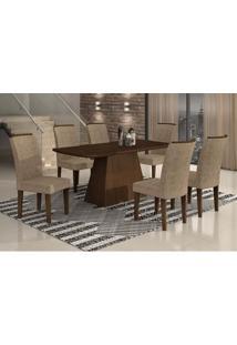 Conjunto De Mesa Lunara Iii Com 6 Cadeiras Suede Amassado Castor E Chocolate