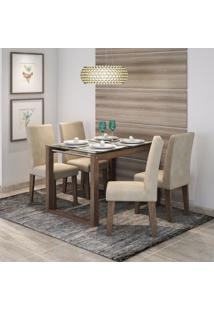 Conjunto Sala De Jantar Mesa Anita 4 Cadeiras Milena Cimol Marrocos/Suede Bege