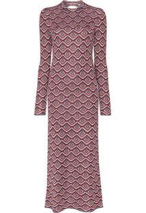 Paco Rabanne Cutout Jacquard Lurex Dress - Vermelho