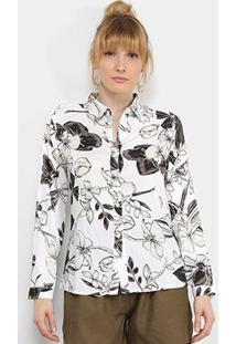 Camisa Charm Lady Floral Clássico Feminina - Feminino-Branco