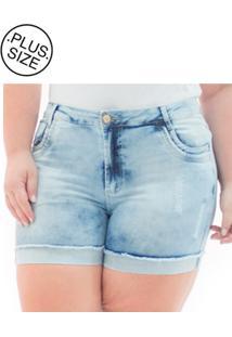 Short Jeans Plus Size - Confidencial Extra Cintura Alta Com Lycra
