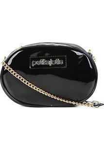 Bolsa Petite Jolie Transversal Rebel Bag Verniz - Feminino-Preto