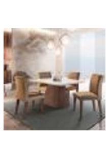 Conjunto De Mesa De Jantar Luna Com Tampo Off White E 4 Cadeiras Grécia Suede Chocolate E Café