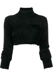 Versace Jeans Couture Blusa Cropped Gola Alta - Preto