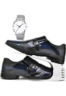 Kit Sapato Social Verniz Com Organizador E Relógio Clean Dubuy 632Db Azul - Kanui