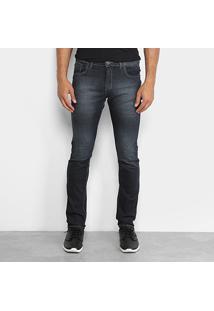 Calça Jeans Slim Preston Estonada Black Masculina - Masculino-Preto