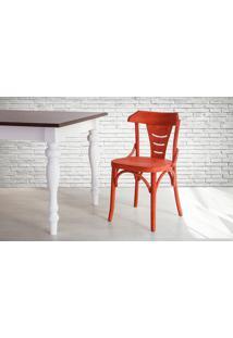 Cadeira De Madeira Estilo Bar Torneada Com Encosto E Assento Anatômico Vermelha Augustine - 45X50,5X83 Cm