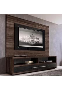 Estante Home Theater Para Tv Até 55 Polegadas 1700/B 100% Mdf Ébano Exótico/Preto - Quiditá