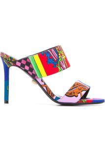 Versace Sandália Com Estampa Barroca - Rosa