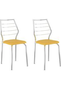 Conjunto 2 Cadeiras 1716 Casual Napa Amarelo Ouro Cromado