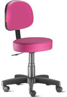 Cadeira Mocho Rosa Secretária Giratória