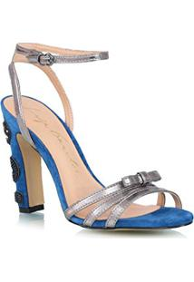 Sandália Cobra Camurça Azul