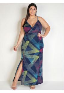 Vestido Longo Geométrico Com Fenda Plus Size