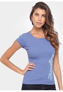 Camiseta Tigs Bordada Feminina - Feminino-Azul Claro