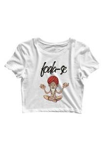 Blusa Blusinha Feminina Cropped Tshirt Camiseta Fda-Se Branco
