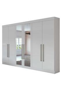 Guarda Roupa Casal C/ Espelho 6 Portas 4 Gavetas C/ Kit Gavetas Castellaro Móveis Lopas Branco