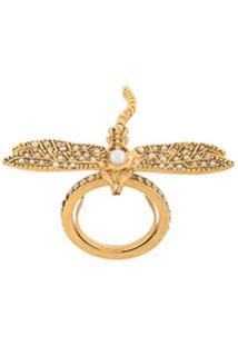 Oscar De La Renta Anel Dragonfly Com Aplicação De Cristal - Cry Gold Shadow