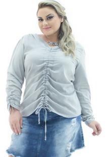c0158c3e44 ... Blusa Confidencial Extra Jeans London Manga Longa Plus Size Feminina -  Feminino-Cinza