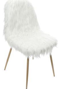 Cadeira Pelúcia- Branca & Bege- 87,5X46X40Cm- Oror Design