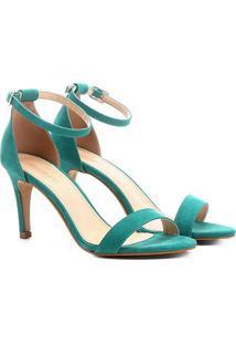 Sandália Couro Shoestock Salto Fino Feminina - Feminino-Verde