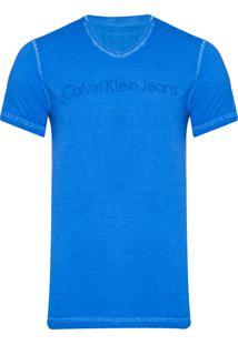 Camiseta Masculina Manga Curta Institucional Tinto Seco - Azul