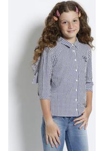 Camisa Xadrez Com Babados - Azul Escuro & Branca - Ccolcci