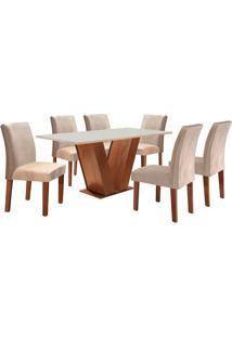 Conjunto De Mesa De Jantar Com 6 Cadeiras Classic Lll Suede Off White E Bege