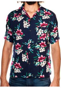Camisa Andy Roll Clothing Floral Canoan Azul Escuro