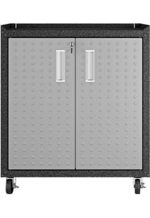 Armário Multiúso Com Tampo Titanium I 2 Pt Cinza E Preto