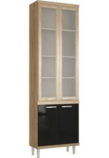 Paneleiro Com Porta De Vidro 70Cm 5121 Sicília Multimóveis Argila/Preto