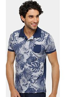 Camisa Polo Local Piquet Full Print Floral Bolso Masculina - Masculino