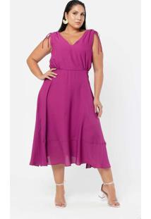 Vestido Almaria Plus Size Pianeta Midi Com Colissê