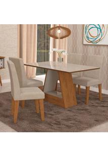 Conjunto De Mesa De Jantar Retangular Alana Com 4 Cadeiras Milena Suede Bege E Off White