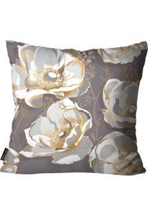 Capa Para Almofada Premium Cetim Mdecore Floral Marrom 45X45Cm