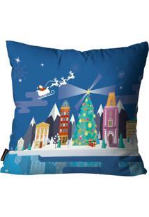 Capas Para Almofada Premium Cetim Mdecore Natal Papai Noel Azul 45X45Cm