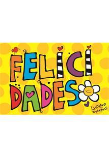 Capacho Em Pvc Vinil Art Luciano Martins Felicidade 40X60Cm Amarelo