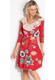 2cf000891 ... Vestido Quintess Com Babado Floral E Manga 7/8