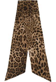 Dolce & Gabbana Echarpe Slim Com Animal Print - Marrom