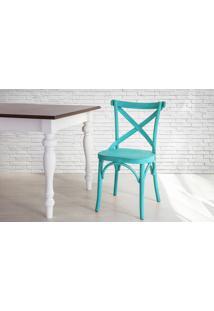 Cadeira Anatômica De Madeira X Torneada Azul Madeleine - 50X54,5X86 Cm