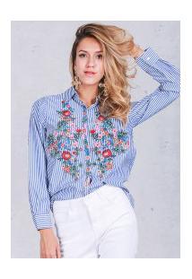 Blusa Feminina Com Bordado Simplee - Azul