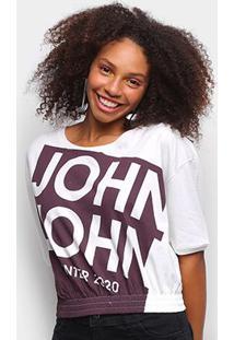 Camiseta John John Barra Elástica Feminina - Feminino-Off White