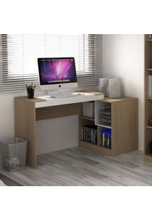 Escrivaninha Multifuncional 2 Em 1 Com 4 Nichos Ho-2904 Home Office Hecol Móveis Avelã Tx/Branco Tx